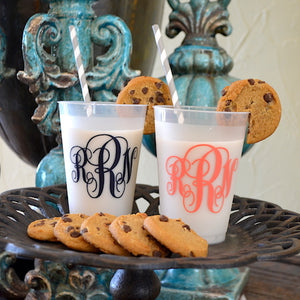 Monogrammed Frost Flex Plastic Cups