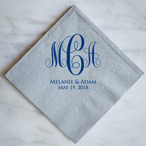 Custom Monogrammed Wedding Napkins - 100