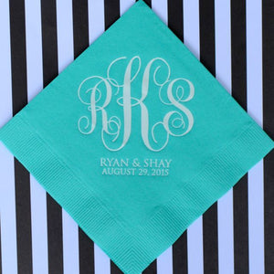 Custom Wedding Monogram Napkins - 100