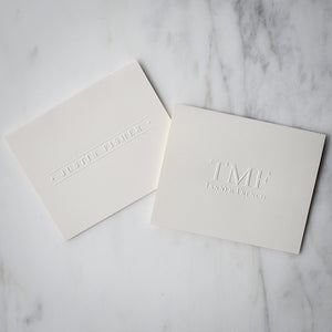 Embossed Initial and Name Note Cards