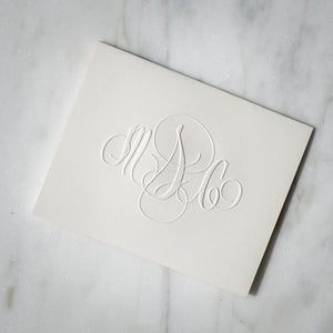 Modern Embossed Monogram Notecards