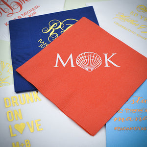 Custom Monogram Wedding Napkins - 100
