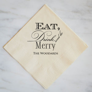 Eat Drink Be Merry Holiday Napkins - Set of 100