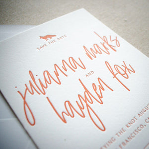 Contemporary Fox Letterpress Save the Date Invitations