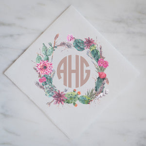 Full Color Cactus Wreath Linen-Like Napkin