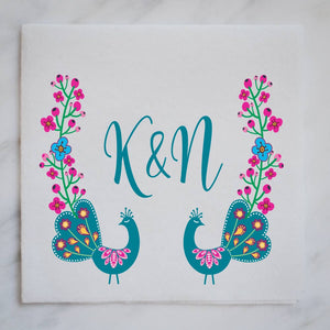 Full Color Peacock Linen-Like Napkins