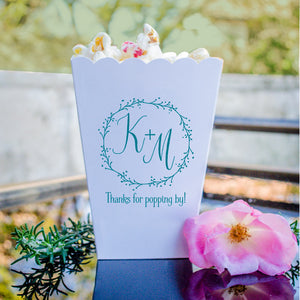 Initialed Wreath Popcorn Boxes