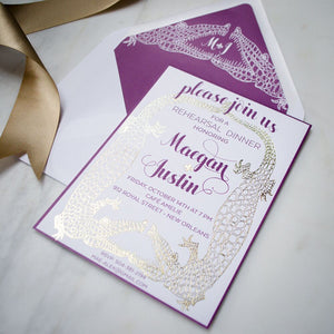 Extravagant New Orleans Gold Foil Alligator Invitations