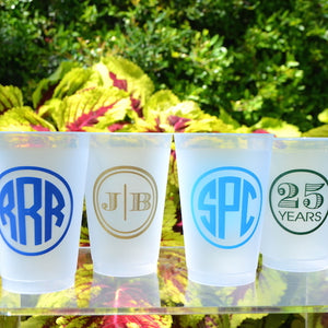 Personalized Frost Flex Cups with Ornate Border