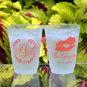 Personalized Wreath Monogram Frost Flex Cups