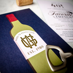 Aged to Perfection Wine Bottle Invitation