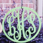 Metal Script Monogram in Wreath Border