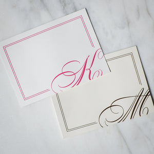 Printed Monogram Border Note Cards