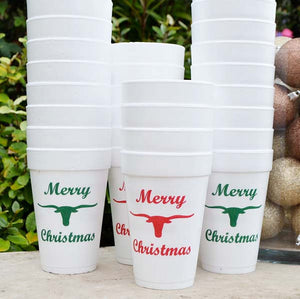 Merry Christmas Styrofoam Cups - Set of 10