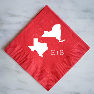Custom Two States Wedding Napkins
