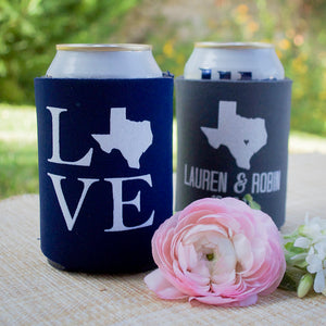 Personalized Texas Love Can Coolers