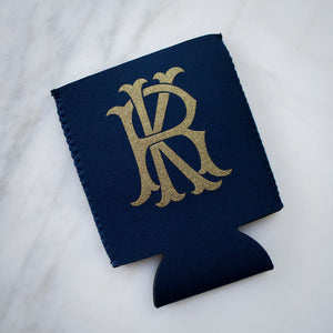 Gold Monogram Personalized Can Coolers