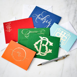 Colorful Monogrammed Cards - Set of 50