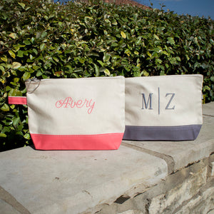 Monogrammed Canvas Makeup Bag