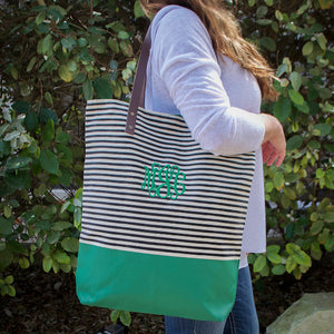 Custom Striped Contrast Tote Bag