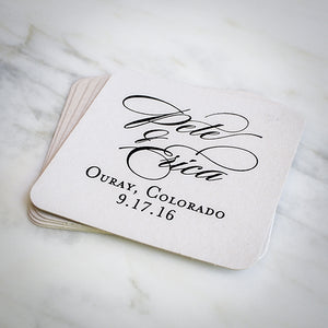 Personalized Wedding Names Coasters - set of 50