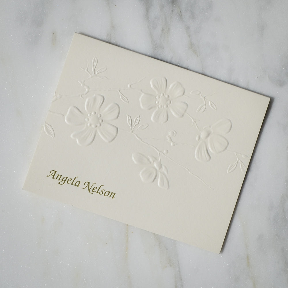 personalized embossed floral note cards - Personalized Embossed Note Cards