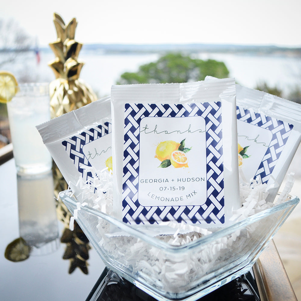 Custom Wedding Lemonade Mix Favors - Gracious Bridal Design House