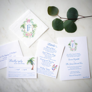 Watercolor Monogram Letterpress Wedding Invitations