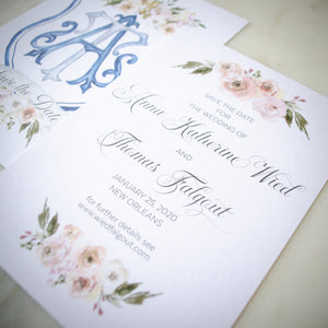 Watercolor Crest Save the Dates