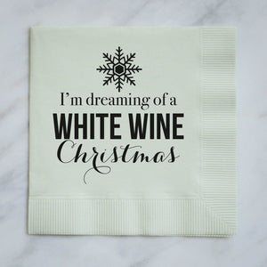 Personalized White Wine Christmas Napkins - Set of 100