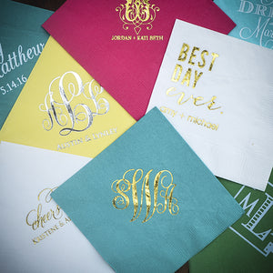 Custom Printed Wedding Cocktail Napkins - 100