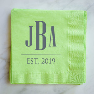 Custom Modern Monogram Cocktail Napkins - 100