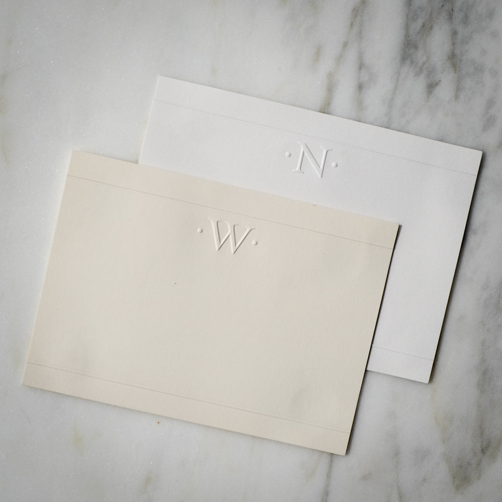 personalized embossed single initial note cards 100 piece set - Initial Note Cards