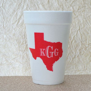 Custom Monogram Styrofoam Cups