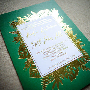 Striking Palm Leaf Goil Foil Printed Wedding Invitations