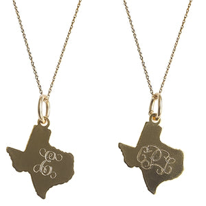 Golden Thread Gold Texas Initial Necklace