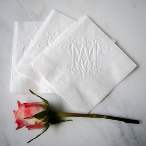 Embossed Monogram Cocktail Napkins