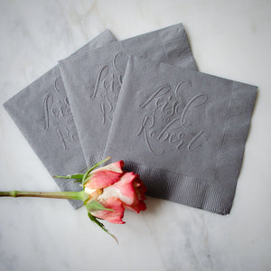 Custom Embossed Names Napkins