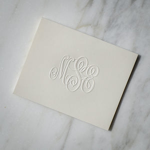 Embossed Script Monogram Note Cards