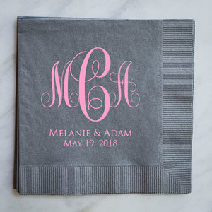 Custom Printed Large Monogram Napkins - 100