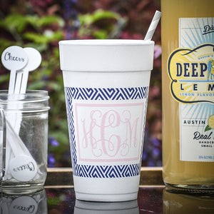 Custom Border Monogram Styrofoam Cups