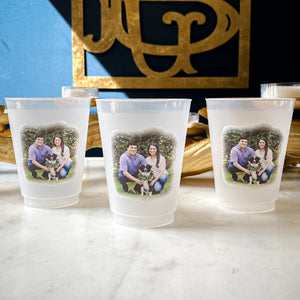 Watercolor Monogram Frosted Cups