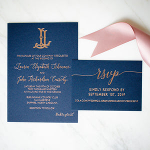 Navy & Rose Gold Foil Wedding Invitations
