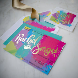 Vibrant Paint Stroke & Gold Foil Rehearsal Dinner Invitations
