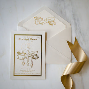 Ribbon Wrapped Silverware Foil Rehearsal Dinner Invitations