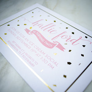 Foil Confetti & Thermography Birthday Invitations