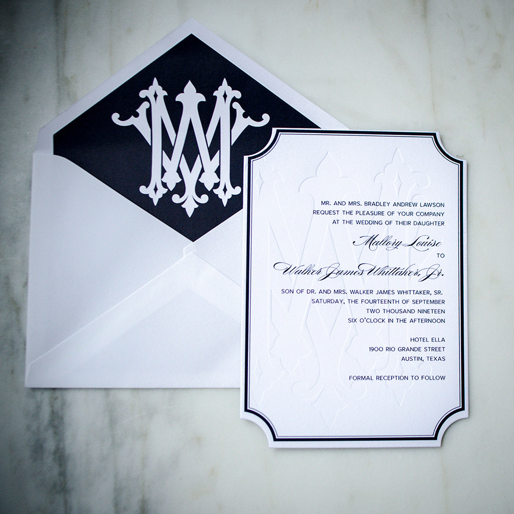 Oversized Monogram Classic Letterpress Wedding Invitations Gb Design House