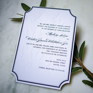Oversized Monogram Classic Letterpress Wedding Invitations