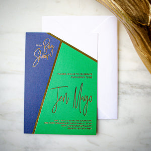 Color Block Baby Shower Invitations