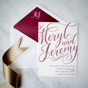 Letterpress Script Rehearsal Dinner Invitations
